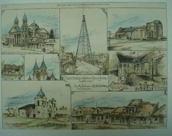 Sketches, San Jose, San Jose, California, 1886, Jos. A Jackson, Architects. Hand Colored, Original Plan, Architecture, Vintage, Antique