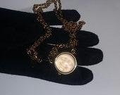 Vintage Kirks Folly Moon Face Watch Necklace Pendant estate Long