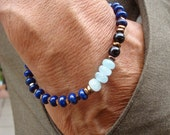Men's Spiritual Protection Good Fortune Bracelet with Semi Precious Aqua Marine, Lapis Lazuli, Onyx, Hematites