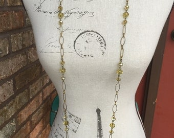 Antique gold chain and crystal bead long necklace and earrings set