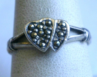 Sterling Silver Marcasite Heart Ring-Size 7 3/4