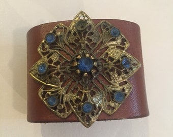 Medium Brown Leather Cuff Bracelet Adorned with Vintage Jewelry Y836 madeinthedeepsouth