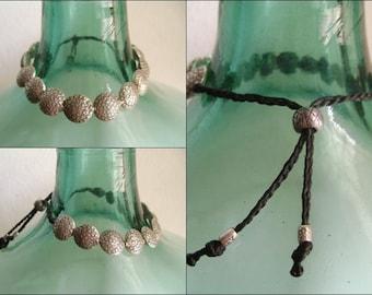 Waxed Cord Adjustable Silver Beaded Bracelet (18)