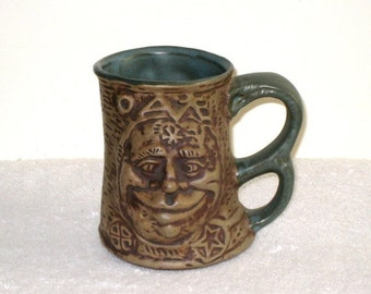 1971 JIM RUMPH Signed Cross-Eyed OGRE Art Pottery Tankard, Mug With Gremlin, Troll Inside / Ugly Ogre Mug / Scary Gag Gift