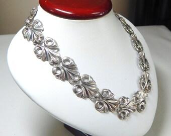 Vintage Sterling Silver Leaf Necklace