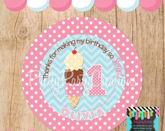 Polka Dot ICE CREAM SHOPPE favor tags - You Print - 3, 2.5 or 2 inch - round or square