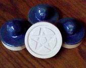 As Is #1 - Crockery Blue - Stoneware Cookie Stampers - Pentacle