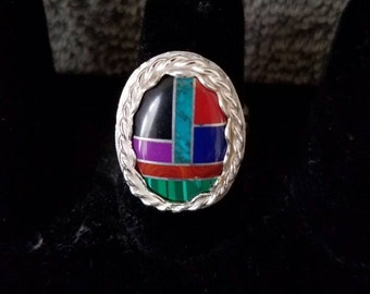 Inlaid ring in .925 sterling silver size 8.25