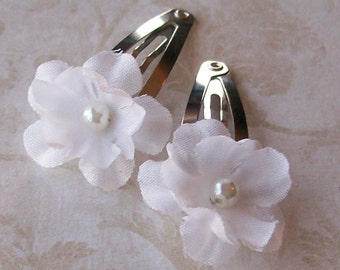 Small White Flower Hair Clips - Set of 2 for Brides, Bridesmaids and Flower Girls