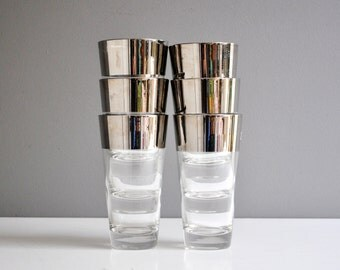 Mid-Century Silver Rimmed Tumblers or Water Glasses