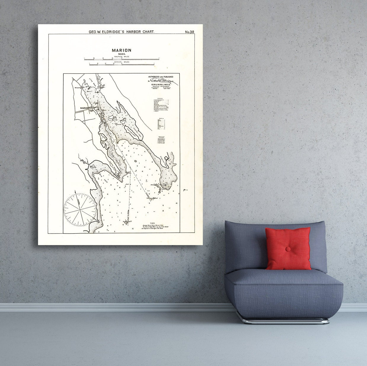 Antique print of a marion massachusetts nautical chart on for 12x15 calculator