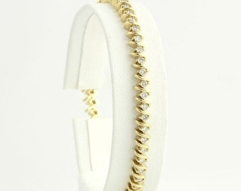 "40% OFF Diamond Tennis Bracelet 7 1/8""- 14k Yellow Gold Women's Natural 2.50ctw 4.8mm p7029"