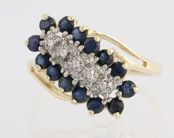 Sapphire and Diamond Bypass Ring - 14k Yellow & White Gold 1.07ctw N1628