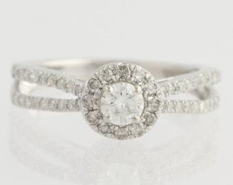 Diamond Engagement Ring - 14k White Gold Size 6 3/4 Polished Genuine .66ctw L7030