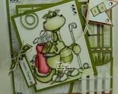 Hello There Golfing Bart Handmade OOAK Keepsake Card