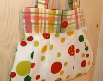 Reversible Tote Bag Set, Pleated Cotton and Canvas Purse, Red, Tangerine, Green Polka Dots and Plaid Fabric, Spring, Summer Fashion