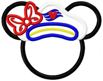 Cruise Miss Mouse for a Disney Cruise vacation Embroidered/Appliqued Tee