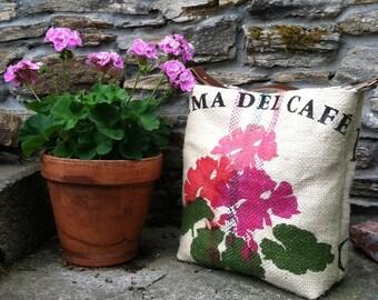Ready to Ship Upcycled Coffee Sack Hobo Bag in Geranium Print