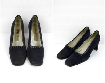 Vintage Lello Bacio Italian suede pumps / black suede heels