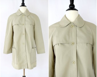 "Vintage ""all weather coat"" / light tan trench style button front coat with peter pan collar"