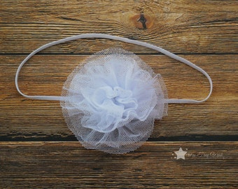 White tulle headband, cream, baby headband, infant headband, newborn headband, girl headband, baby girl headband, simple headband, hair clip