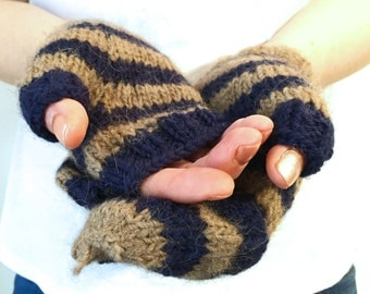 Navy blue and latte convertible knitted mittens | fingerless button back unisex gloves | gift soft hand warmer winter fashion accessory wool