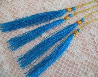 12  TURQUOISE Silk TASSELS jewelry making