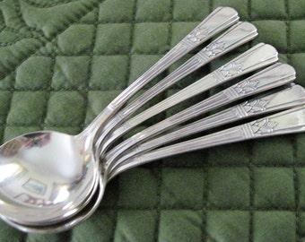 6 Antique Vintage Court Silverplate Sovereign Pattern Round Bowl Bouillon Soup Spoons Circa 1930's