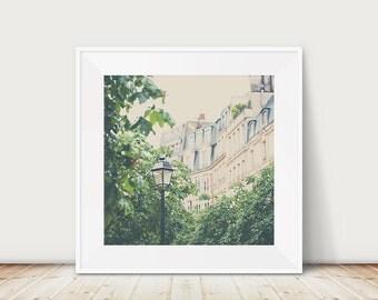paris photograph paris print paris decor street lamp photograph tree photograph french decor green leaf photograph