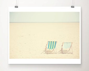 beach photograph deck chair photograph beach decor cream decor mint green stripes england photograph summer print beach decor