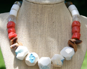 Coraline Pink Coral, White & Blue Agate, Quartz, Indonesian Glass, Wood, African Vulcanite Trade Beads, Brass, Copper, Leather OOAK Necklace
