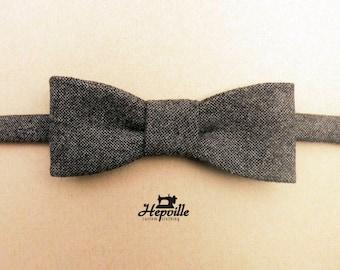 Tweed Bow Tie - Brown Salt & Pepper - Single Piece - Free Shipping