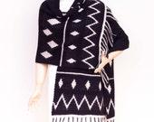 Wrap ,crochet shawl,Tribal patterned ,wrap ,crochet wrap  cowl shawl , shrug capelet  ,in BLACK BEIGE
