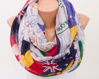 Summer Infinity scarf ,cotton scarf infinity scarf  ,flags and map scarf ,national flags scarf ,loop scarf ,summer scarf ,white