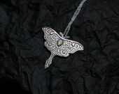 Luna Moth Necklace - Sterling Silver Butterfly Necklace - Mixed Metal Moth Pendant - Rainbow Moonstone Moth Pendant