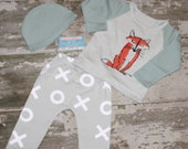 WHAT did the FOX SAY? fox outfit 3 piece set photography prop, unisex outfit, boys girls geometric harem pants beanies toddlers infants baby