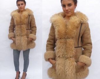 Lux Vintage Women's 1970s Almost Famous Brown Leather Suede Sheepskin Fur Jacket Coat. Shearling boho gypsy hippie Winter coat