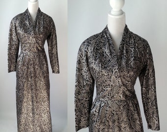 Vintage Dress, Gold Brocade Gown, 1960s Gold Dress, 1960s Gold Hostess Gown, Vintage Paisley Dress, Paisley, Retro 60s Gown, Black Dress