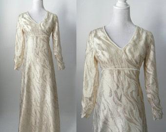 Gold Maxi Dress, Vintage Dress, 1960s Gold Dress, 1960s Maxi Dress, 60s Maxi Gown, Retro 60s Dress, Long Gold Dress, Gold 1960 Boho Dress