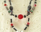 Black, Red and Crystal Heart Necklace