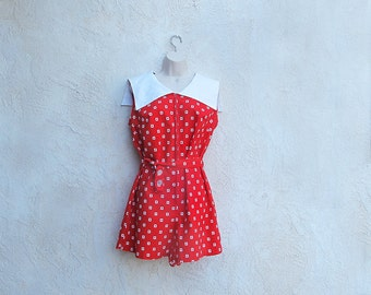 Vintage 60s Red Romper, 1960 Cotton Culottes, Sailor Collar Playsuit, Made in Japan