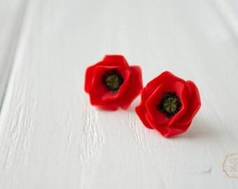 Red Poppies Stud Earrings small hypoallergenic earstuds Wedding bridal bridesmaid birthday gifts handmade earrings
