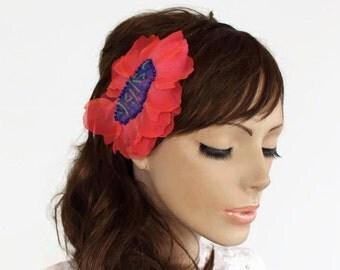 Bridal Hair Wedding Headpiece Fascinator, Coral Scarlet Red, Boho Modern Weddings, OOAK Bridal Flower Girl Hairpiece