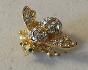 Joan Rivers Vintage Bumble Bee Rhinestone Brooch Lot 981