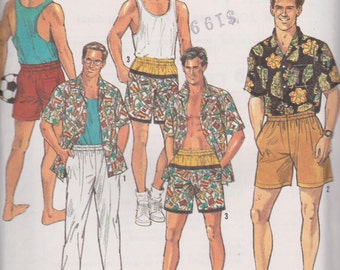 "Men's 1990's Sewing Pattern Simplicity 7265 Pants or Shorts and Tops Size Xs-Xl Chest 30-48""  UNCUT"