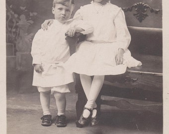 ADORABLE Old Photograph Big Sister and Little Brother Early 1900s Vintage Postcard Photo Paper Ephemera Snapshot Collectibles Formal Picture