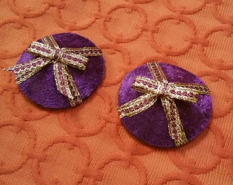 READY TO SHIP Purple Velvet Circle Pasties With Gold and Red Ribbon Bow