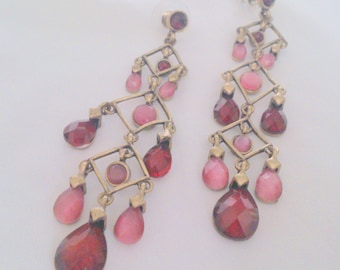 Brass Tone Red and Pink Chandelier Drop Earrings