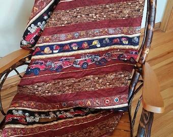Fire Truck Patchwork Quilt Blanket, Firefighter Baby Blanket, Dalmation Dogs Patchwork Quilt