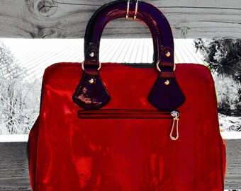 Red and Burgundy Top Handle  Shinny Leather Bag #35